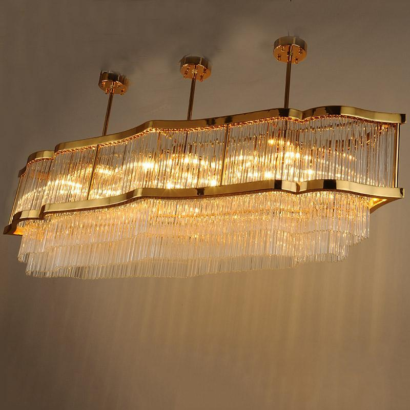 Majestic Living Room Crystal Lamp - Luxurious Gold & Crystal Pendant Light at Lifeix Design