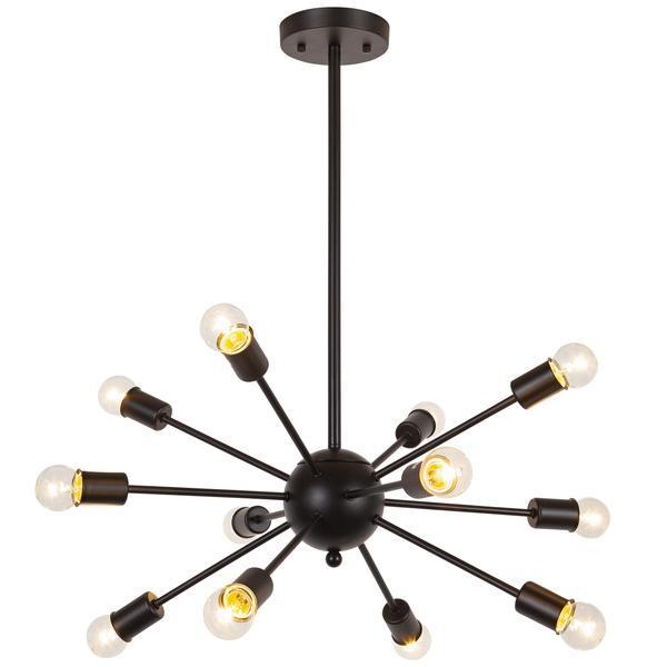 Chandelier Black / Single Meridia Sputnik Style Chandelier