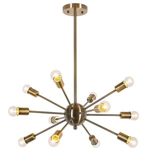 Chandelier Brass / Single Meridia Sputnik Style Chandelier