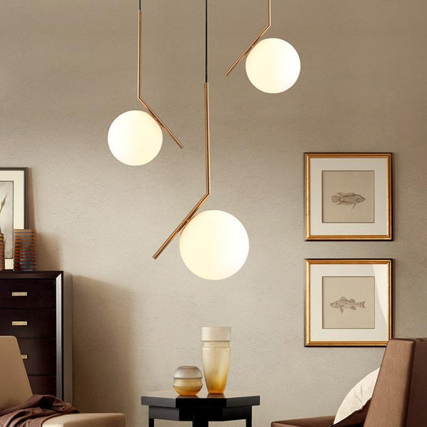 Milky White Glass Globe Minimalist Pendant Lights at Lifeix Design