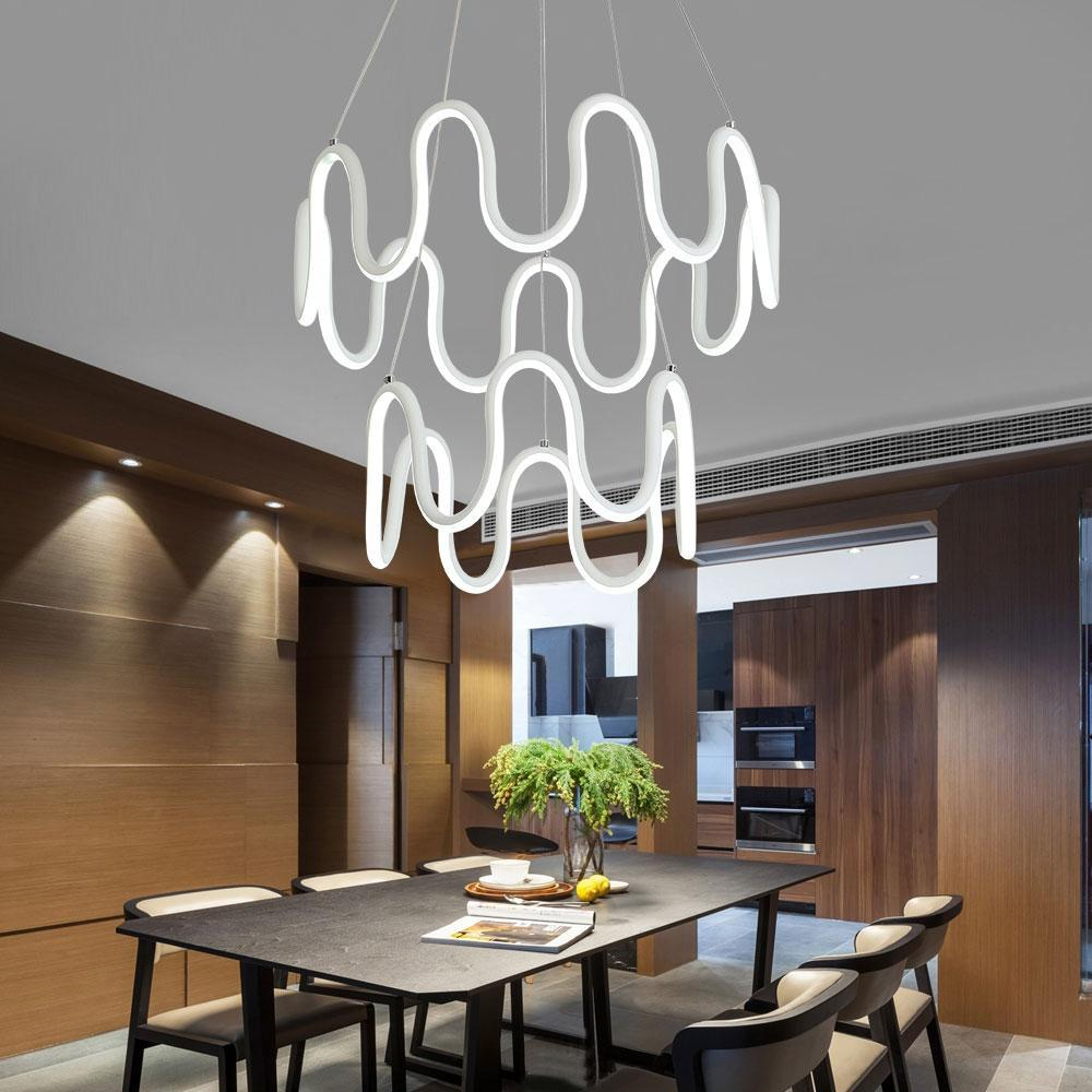 Minimalistic home lighting fixture symmetrical curves modern led chandelier at lifeix design