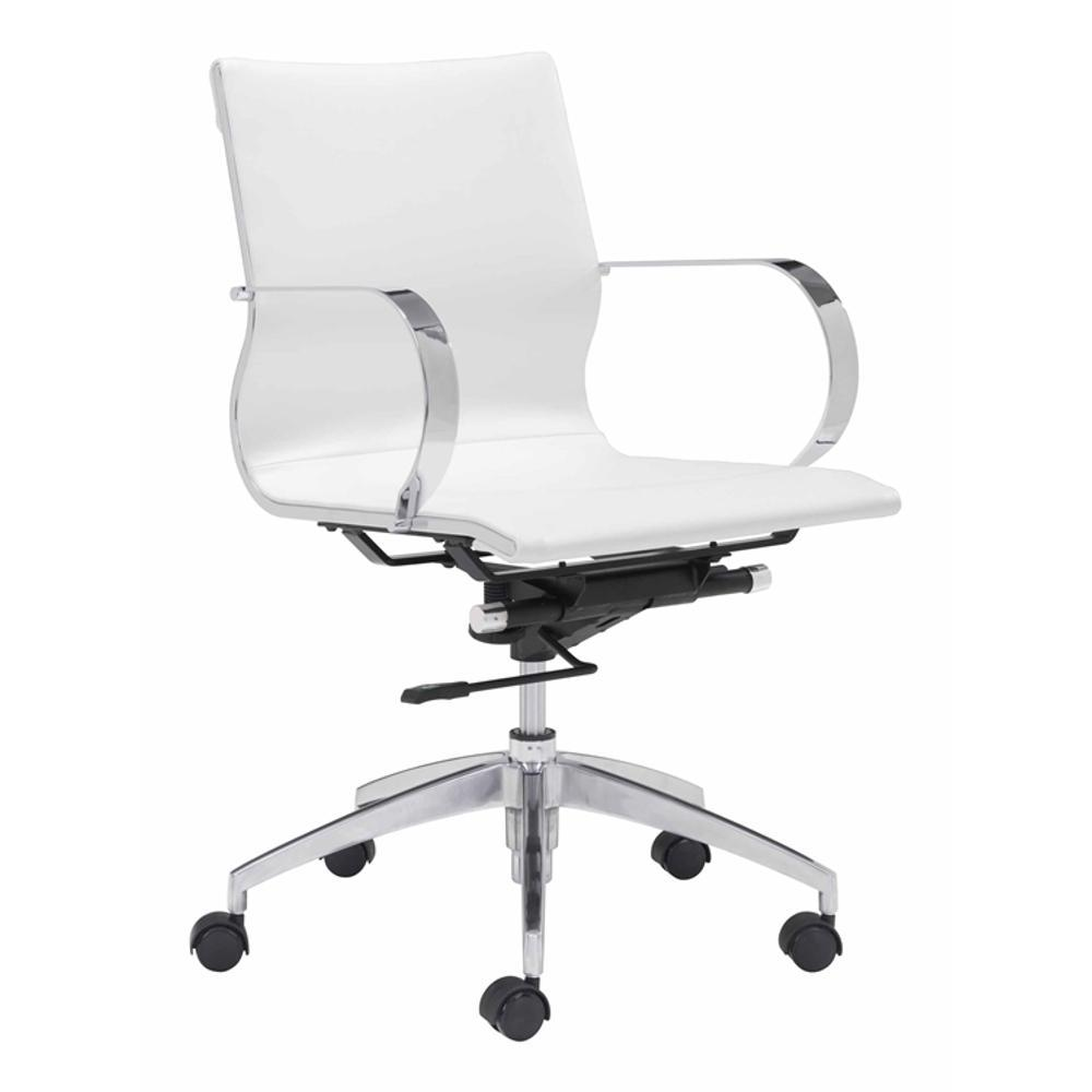 White Modern Conference Office Chair Mid Back