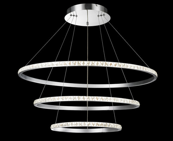 Modern Design- Triple Floating Led Crystal Round