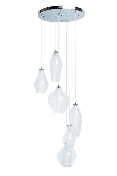 Clear Glass Modern Gladd Duo Tone- 6 Light LED Chandelier