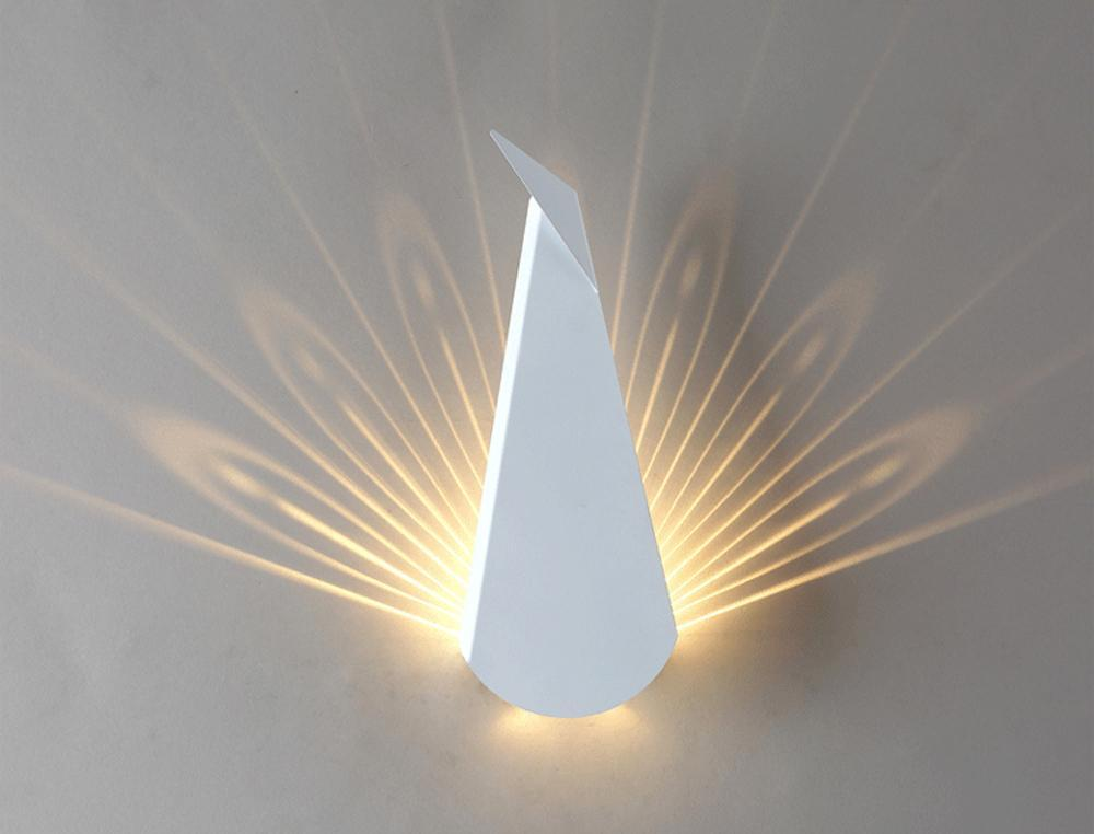 Modern Peacock Nordic Style 3D Wall Sconce at Lifeix Design