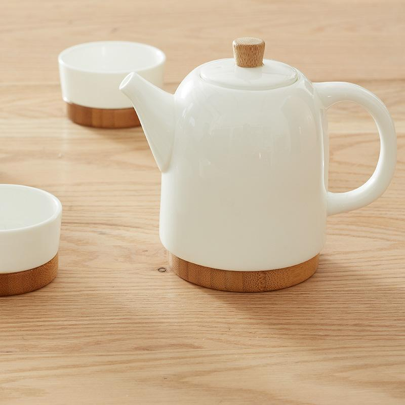 Natural Bamboo and Bone China Tea Set with 2 Cups at Lifeix Design