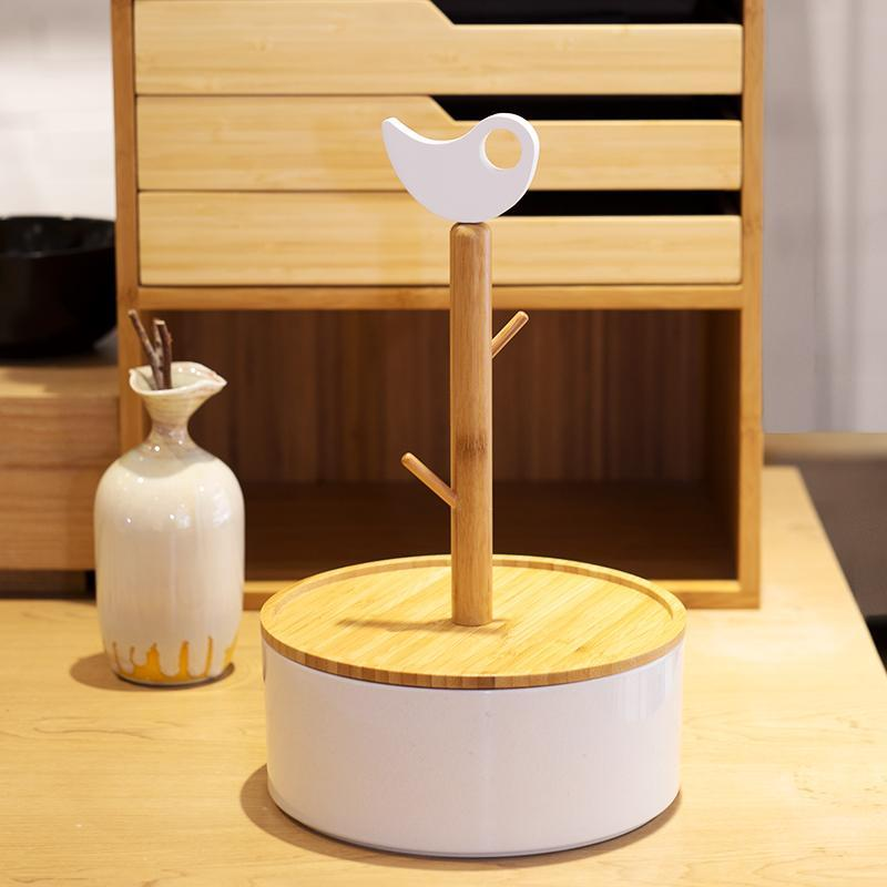 Natural Bamboo and Porcelain Storage Box with Keychain Rack at Lifeix Design