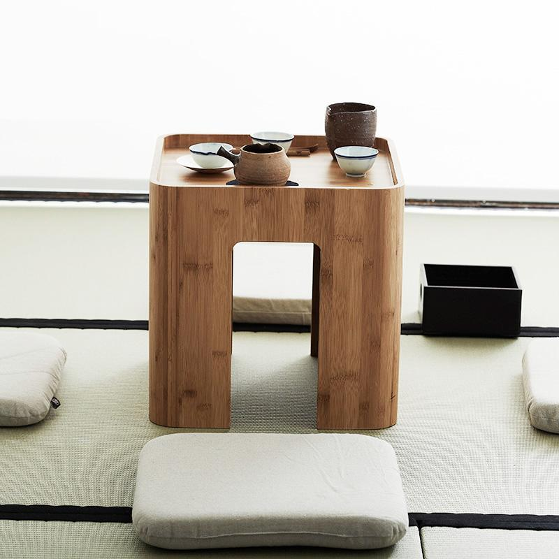 Natural Bamboo Coffee Table Tea Table With 4 Cushions at Lifeix Design