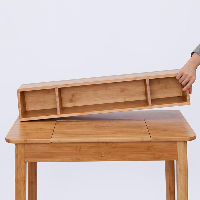 Natural Bamboo Dresser Muti Function Desk With Storage Drawer and Mirror at Lifeix Design