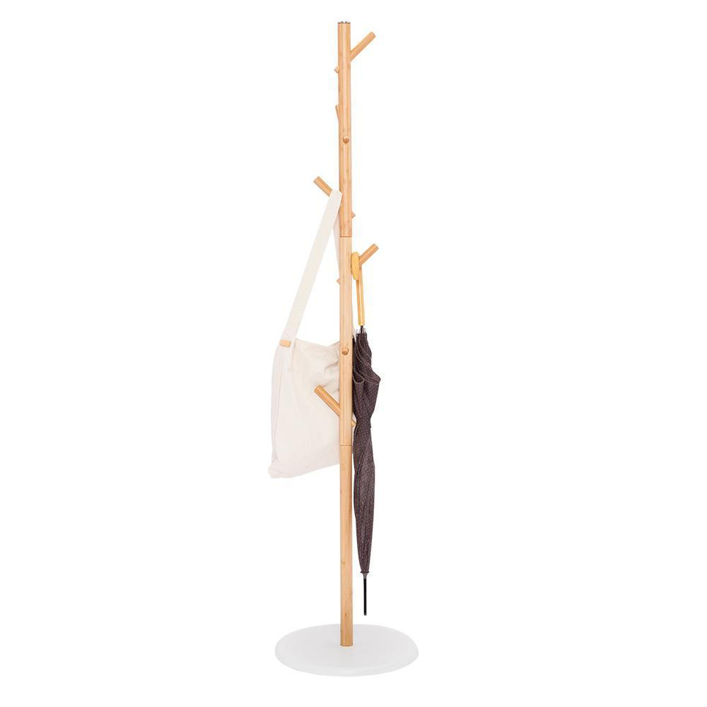 Natural Bamboo Minimalist Coat Rack Tree With 6 Hooks at Lifeix Design