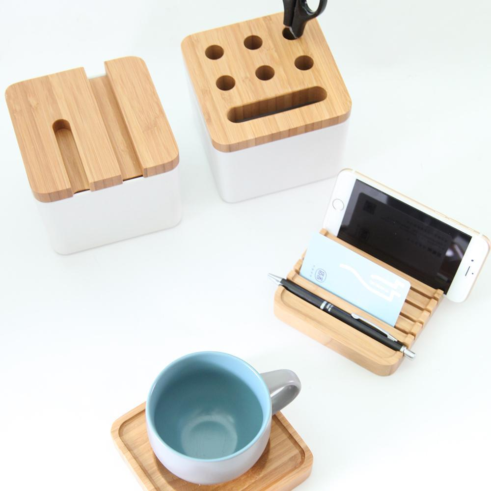 Natural Bamboo Multifunction Coffee Cup Holder and Storage Box at Lifeix Design