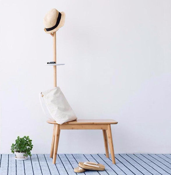 Natural Bamboo Shoe Stool with Coat Rack at Lifeix Design