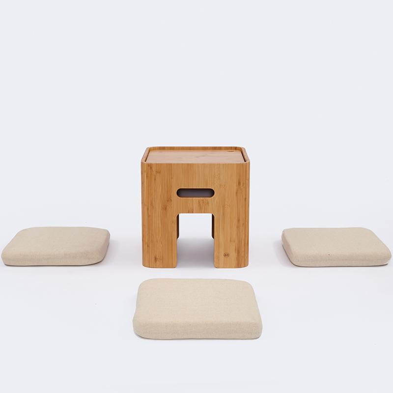 Natural Bamboo Tatami Coffee Table Tea Table with 4 Cushions and Storage Space at Lifeix Design
