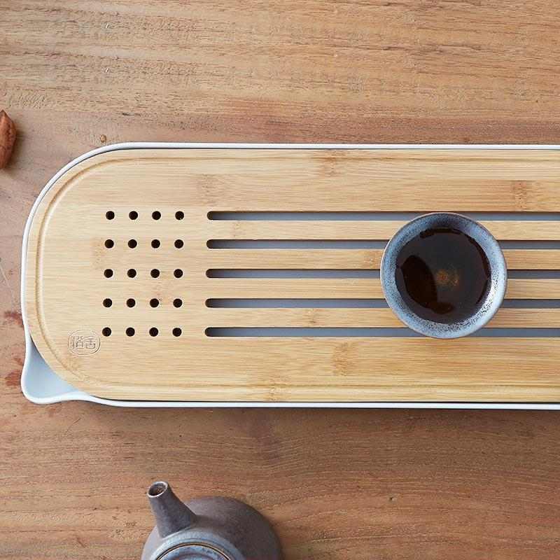 Natural Bamboo Tea Tray with Water storage at Lifeix Design