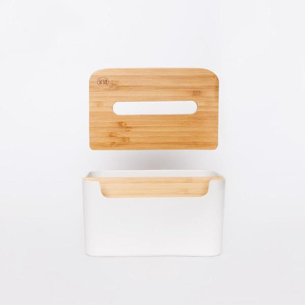 Natural Bamboo Tissue Holder and Remote Storage at Lifeix Design