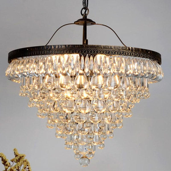 Nordic Style Teardrop & Iron Chandelier - Retro Crystal LED Lamp at Lifeix Design