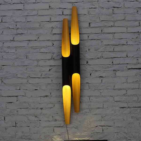 Open Cylinder Background Wall Lamp - Metal Tubes - Modern Style Bedside Lighting at Lifeix Design