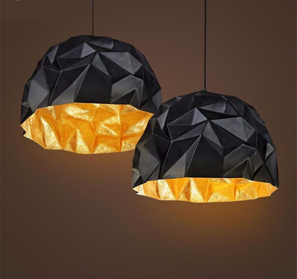 Origami Black and Gold Industrial Style Pendant Light at Lifeix Design