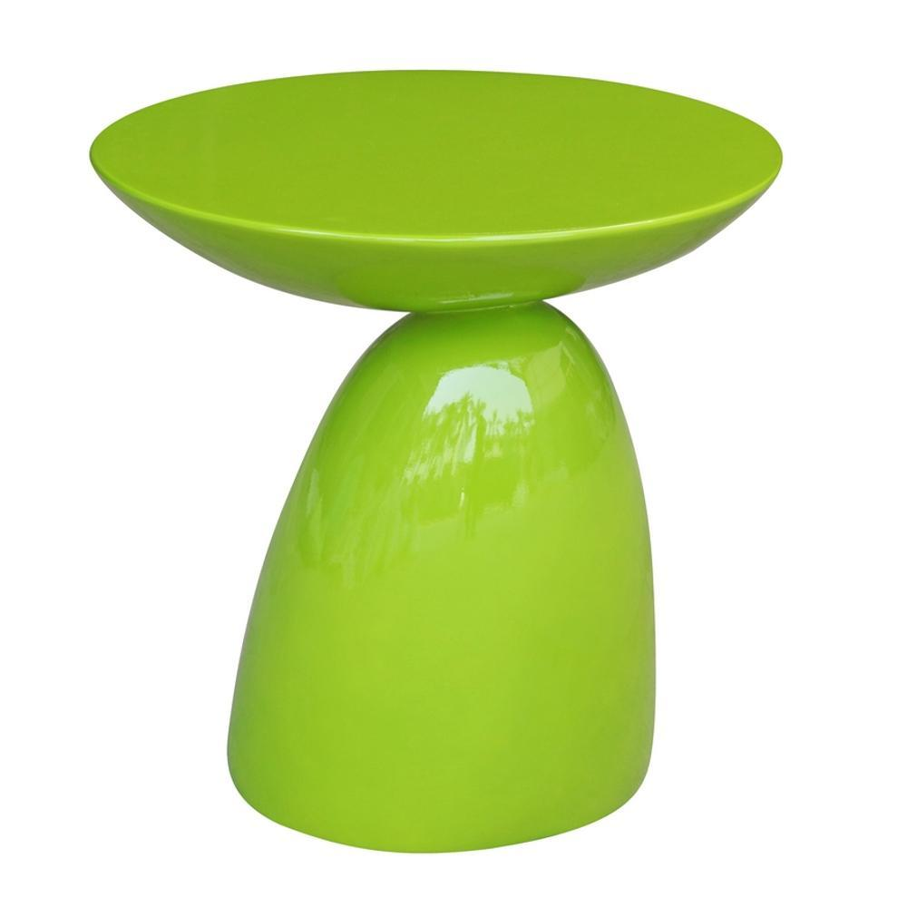 Green Oval End Side Table