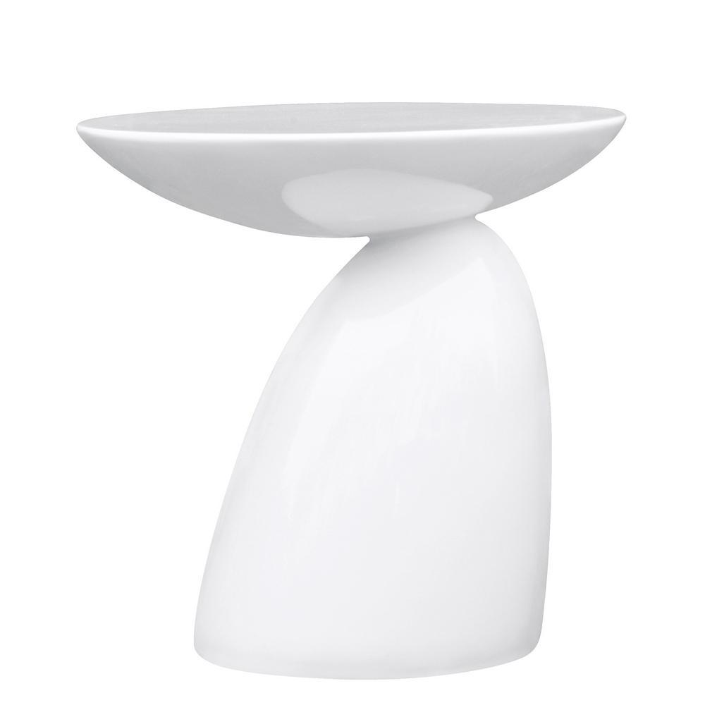 White Oval End Side Table