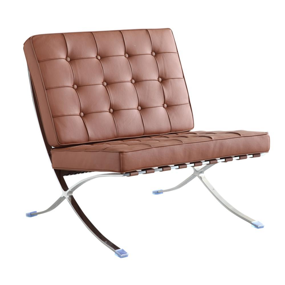 Light Brown Pavilion Chair in Italian Leather