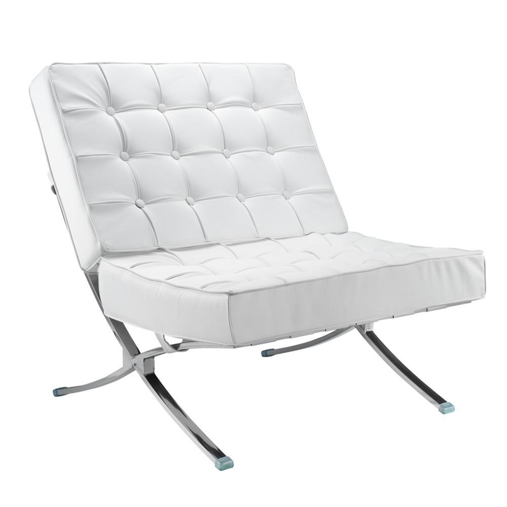 White Pavilion Chair in Italian Leather