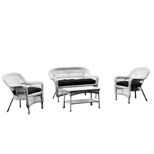 Black Portside White 4pc Outdoor Set Black Cushion