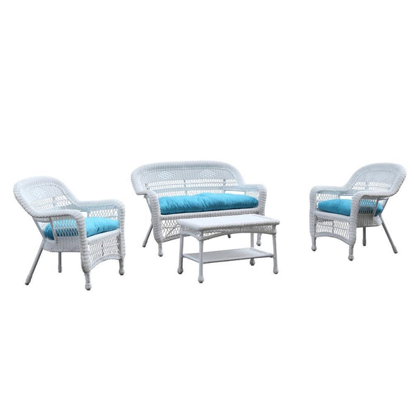 Blue Portside White 4pc Outdoor Set Blue Cushion