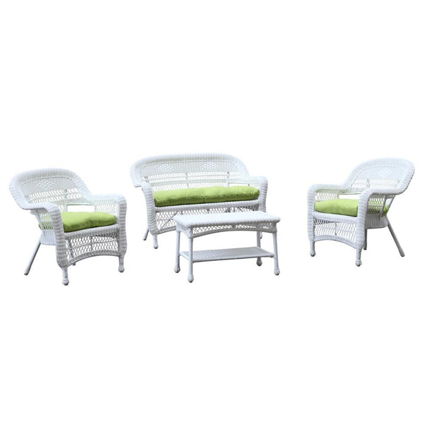 Green Portside White 4pc Outdoor Set Green Cushion