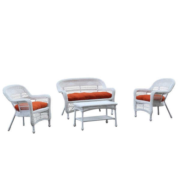 Orange Portside White 4pc Outdoor Set Orange Cushion