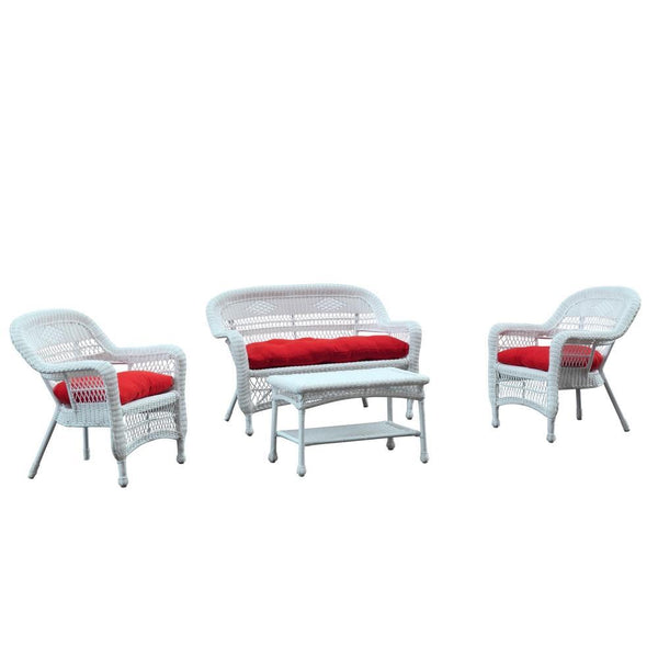 Red Portside White 4pc Outdoor Set Red Cushion