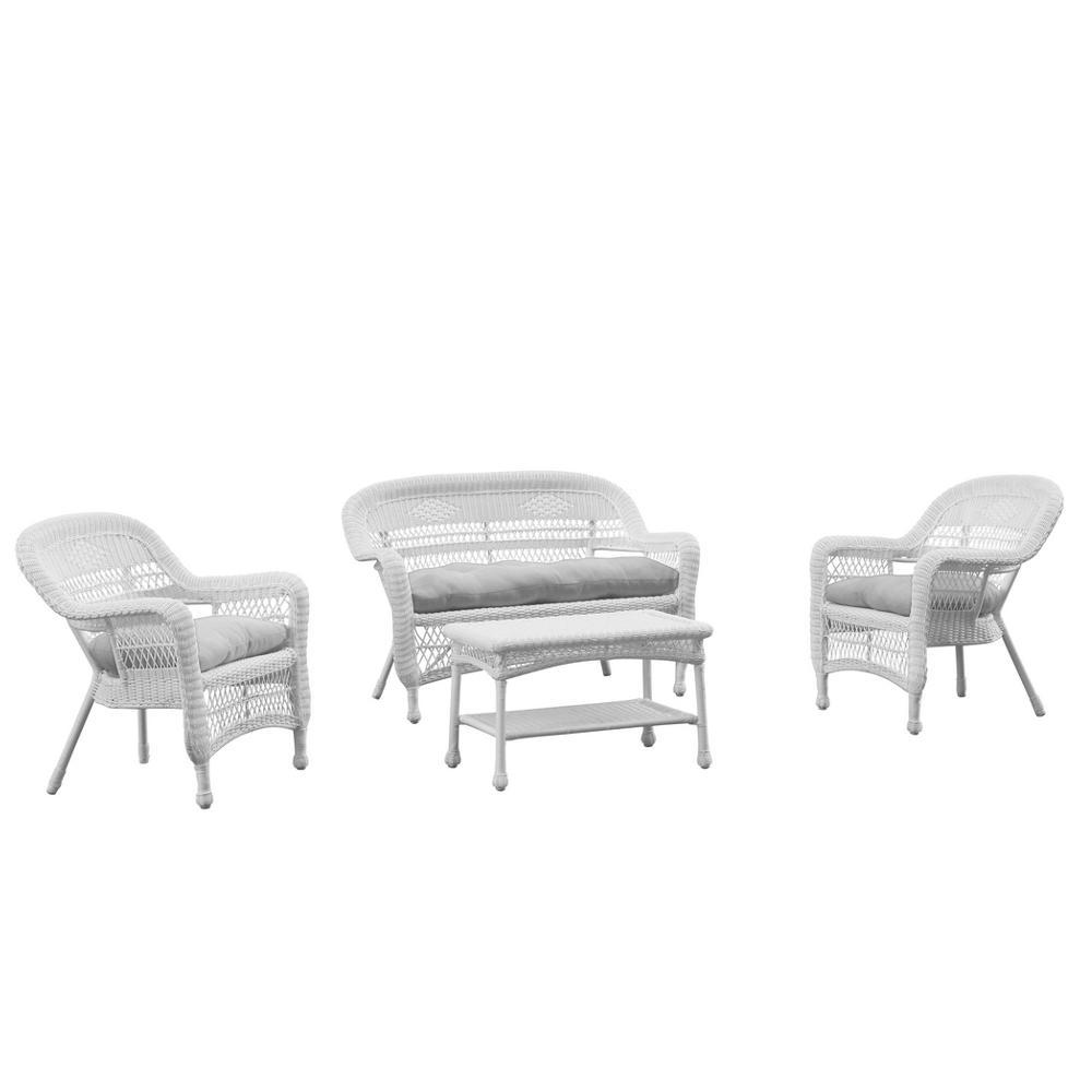 White Portside White 4pc Outdoor Set White Cushion