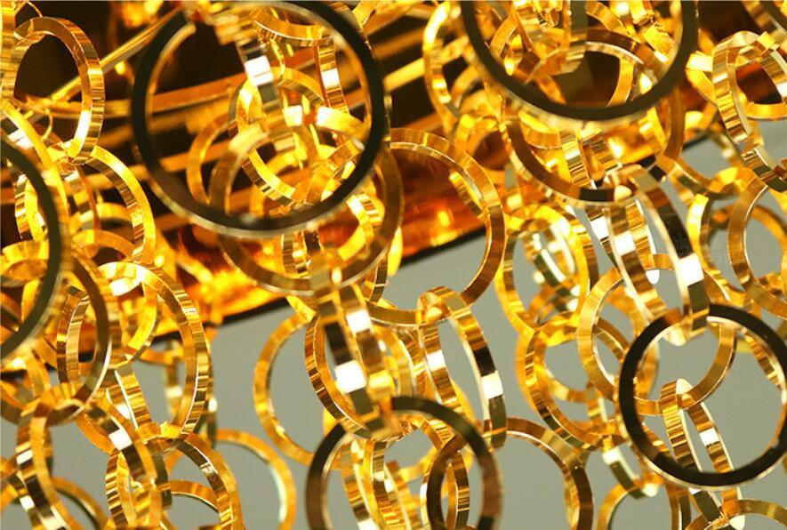 Post-Modern Chandelier Style Hanging Lamp with Dangling Metal Links at Lifeix Design
