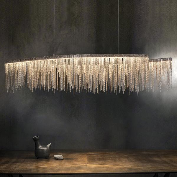 Post-Modern Designer Chandelier - Chain & Stars, Nordic Tassel Lighting at Lifeix Design
