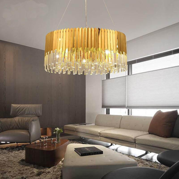 Post-Modern Style Crystal & Gold Pendant Light - Crystal Chandelier for Living Room/Foyer at Lifeix Design