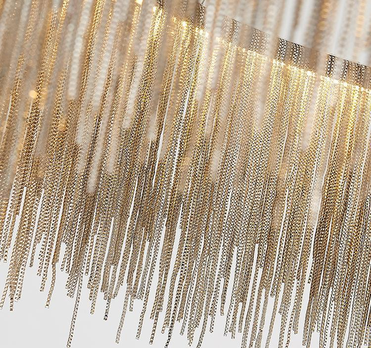 Post-Modern Tassel Chandelier - Circular Nordic Lamp at Lifeix Design