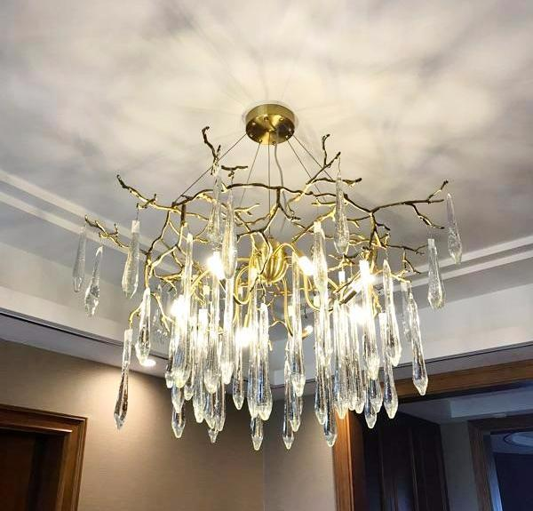 Buy Rain Drops Contemporary Modern Gold Chandelier With