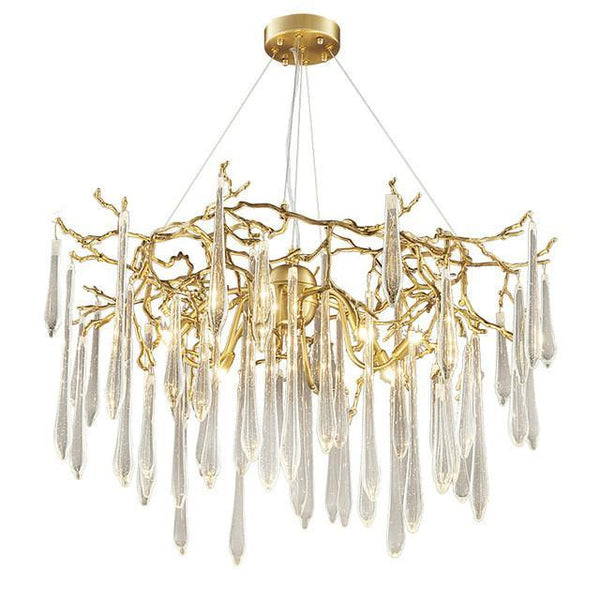 RAIN DROPS Modern Metal Crystal Pendant Light Chandelier at Lifeix Design