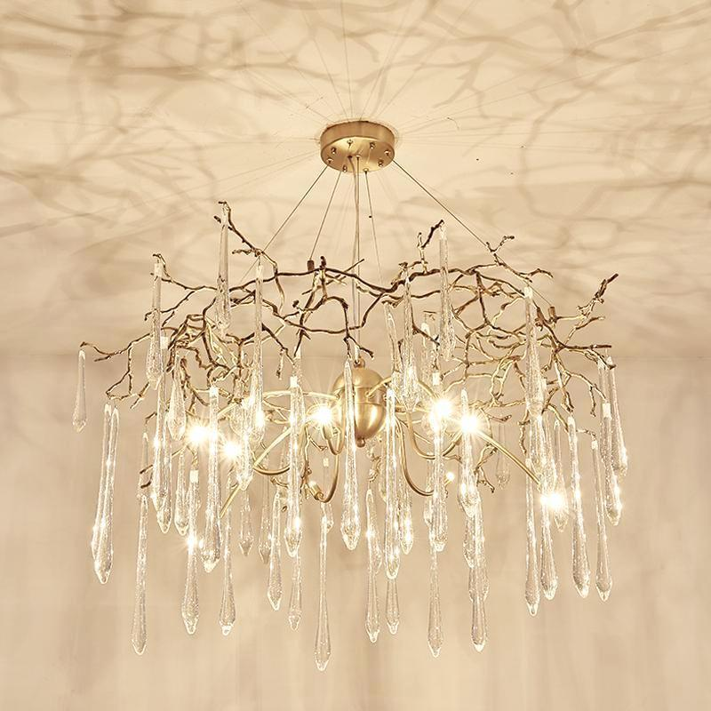 Buy RAIN DROPS Contemporary Modern Gold Chandelier With Crystals ...