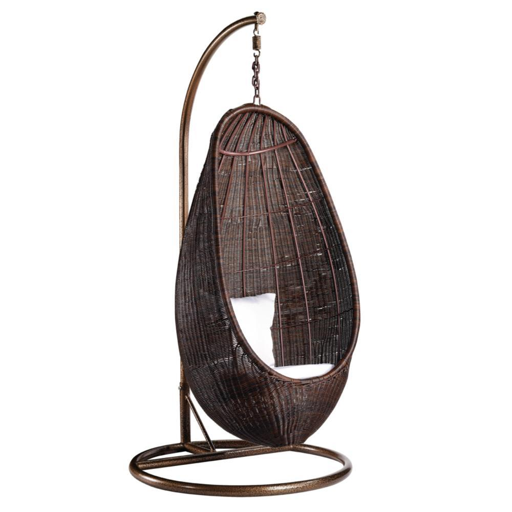 Brown Rattan Hanging Chair With Stand