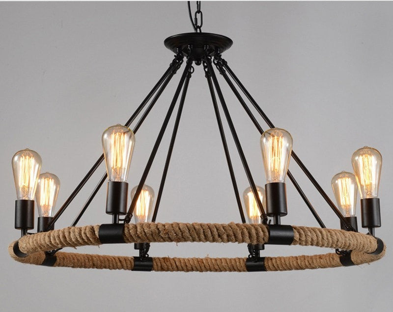 ceiling light 8 Lights Rope Wrapped Pendant Industrial Style
