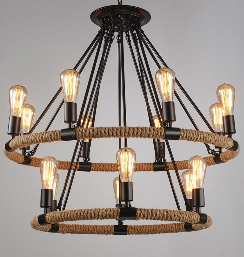 ceiling light 8 and 6 Light set Rope Wrapped Pendant Industrial Style
