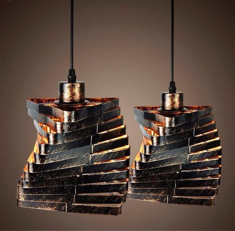 Rustic Spiral Triangle Retro Iron Industrial Style Pendant Light at Lifeix Design ... & Buy Retro Nordic Blacksmith Pendant Lamp - Intense Vintage Style ... azcodes.com