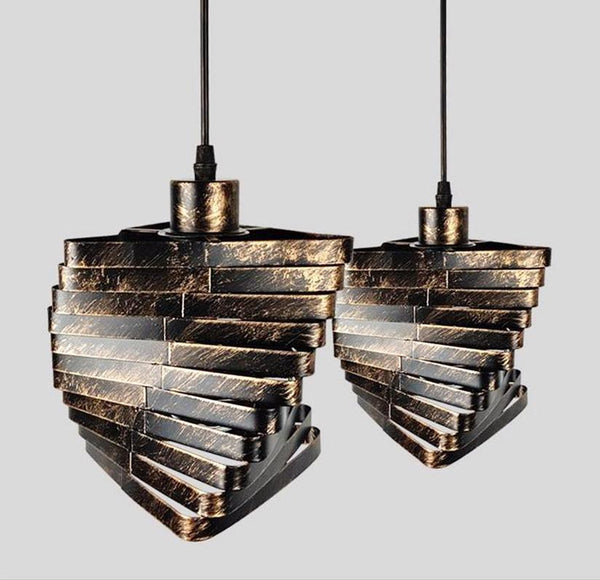 Rustic Spiral Triangle Retro Iron Industrial Style Pendant Light at Lifeix Design
