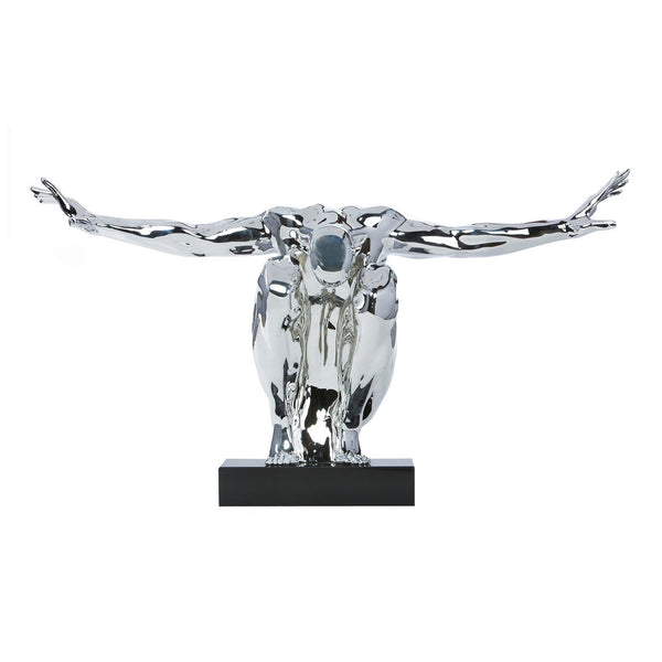 Saluting Men- Resin Sculpture-Chrome