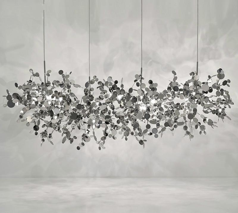 Shattered Leaves Stainless Steel Chandelier at Lifeix Design