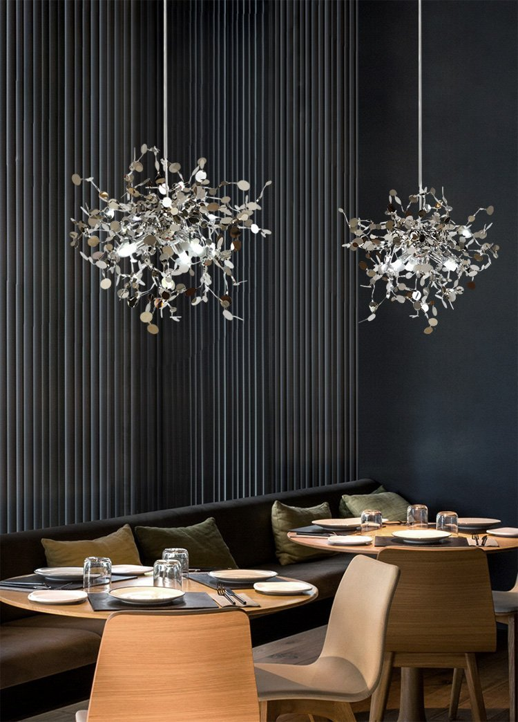 Buy shattered leaves stainless steel chandelier at lifeix design material metal technics hand knitted number of light sources 1 switch type line switch body material fabric dimension d70cmd100cmd140cm aloadofball Images