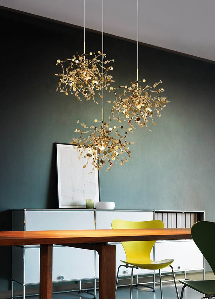 Shattering Stainless Steel Leaves Chandelier at Lifeix Design