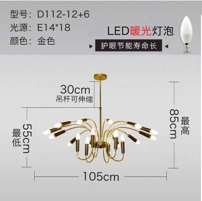 Gold 18 lights Simple American Pendant Lights Living Room Lamp
