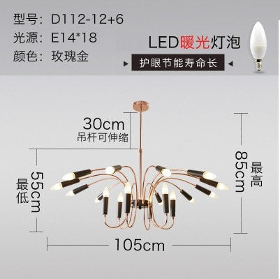 Rose Gold 18 lights Simple American Pendant Lights Living Room Lamp